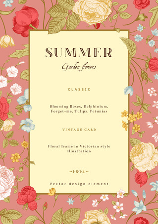 Summer vertical vector vintage card with colorful garden flowers  Pink and yellow roses, forget-me, delphinium on pink background  Design template Фото со стока - 26567444