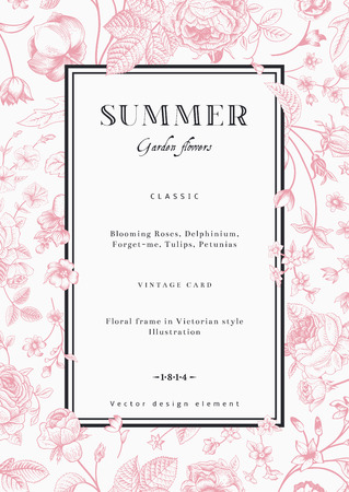 Summer vertical vector vintage elegant card with black garden flowers  Pink roses, forget-me, delphinium on white background with black frame  Design template  Vector