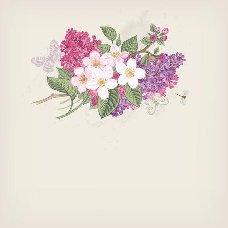 灰色の背景でアップルと紫色のライラックの咲く枝を持つヴィンテージ ベクトル カードを春します。  イラスト・ベクター素材