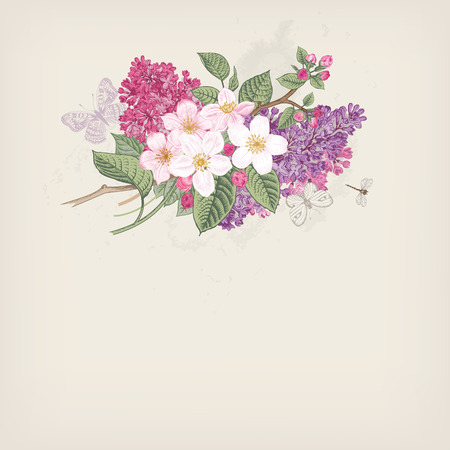 Spring Vintage vector card with blooming branches of apple and purple lilac on a gray background.