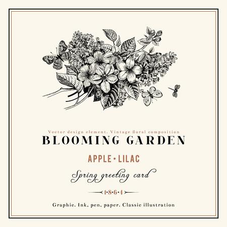 ゴールデン フレームとライラックとリンゴの木の枝のベクトル ビンテージ花の背景の黒と白の春組成物。  イラスト・ベクター素材
