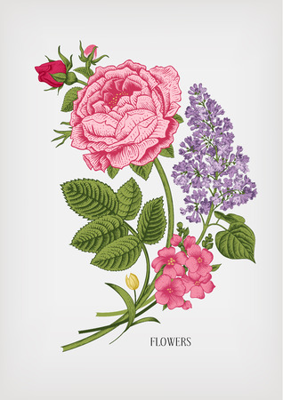 Vintage card with floral drawn Victorian bouquet of roses and lilac on a gray background. Vector design element.