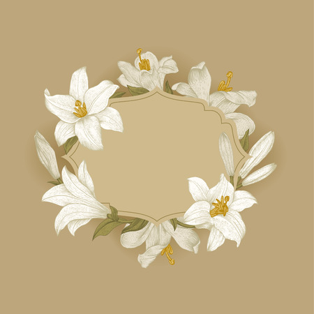 ベージュ色の背景上の白いロイヤル ユリのヴィンテージ花のフレーム。ベクトル イラスト。