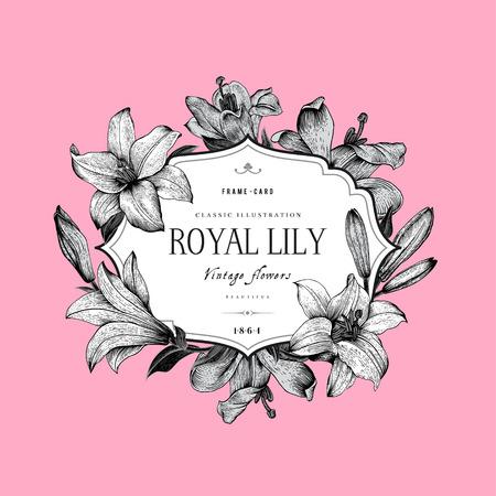 フレームとヴィンテージ エレガントな花カード飾られたピンクの背景に黒と白のユリ。ベクトル イラスト。