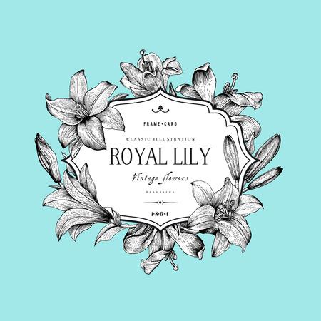 Vintage elegante carta floreale con cornice decorata con gigli in bianco e nero su sfondo menta. Illustrazione vettoriale. Vettoriali