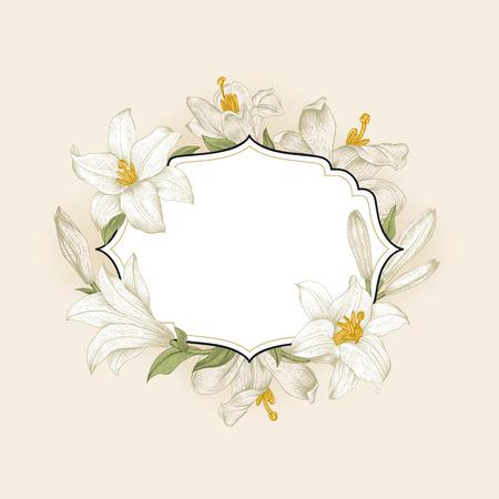 Vintage floral frame met witte royal lelies op een crème achtergrond. Vector illustratie.