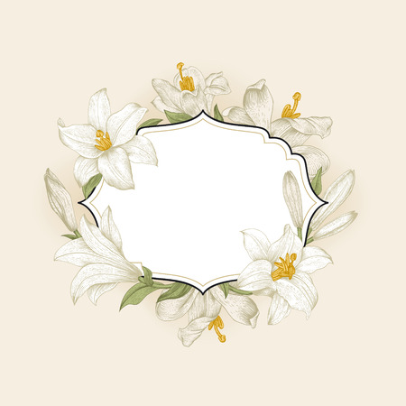 Vintage floral frame with white royal lilies on a cream background. Vector illustration.