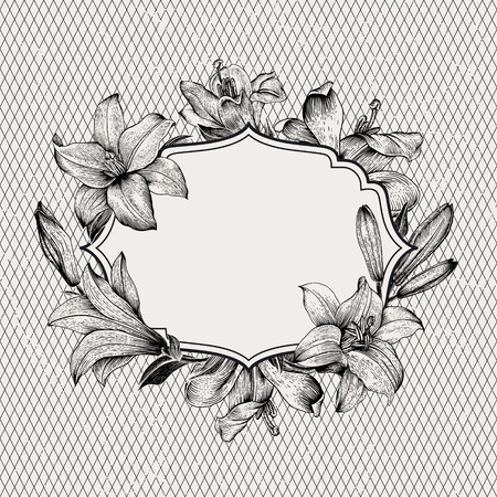 Vintage vector background with black and white drawn frame of lilies on a background of a geometric pattern. Illustration, paper, ink, pen. Design element. Illustration