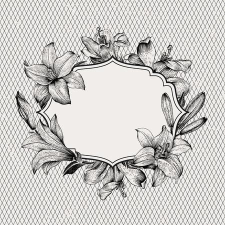 Vintage vector achtergrond met zwart en wit getekende frame van lelies op een achtergrond van een geometrisch patroon. Illustratie, papier, inkt, pen. Design element.