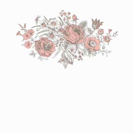 Vintage floral vector card with spring summer Victorian bouquet of flowers. Coral roses, anemones, tulips, forget-me, petunias on a gray background.