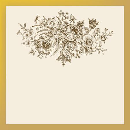 꽃의 봄 여름 빅토리아 꽃다발 빈티지 꽃 벡터 카드. 브라운 illustrationl 장미, 아네모네, 튤립, 잊어, 피튜니아 골든 프레임 베이지 색 배경에. 일러스트