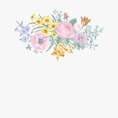 petunia: Vintage floral vector card with spring summer Victorian bouquet of flowers. Roses, anemones, tulips, forget-me, petunias on a light background. Pastel color. Illustration