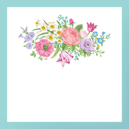 Vintage floral vector card with spring summer Victorian bouquet of flowers. Roses, anemones, tulips, forget-me, petunias on a white background with mint frame. Bright color. Иллюстрация