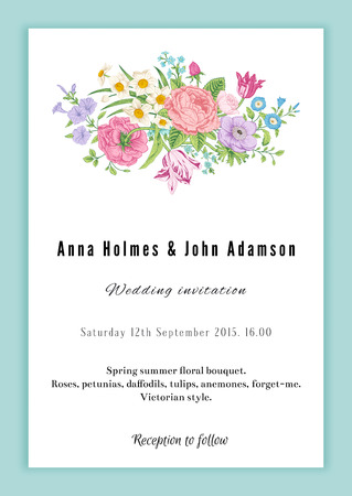 Vertical vector vintage wedding invitation. Floral bouquet with roses, anemones, tulips and daffodils in Victorian style on mint background.