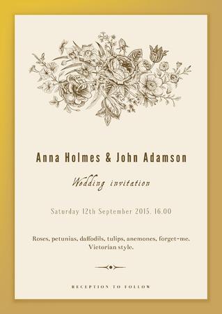 垂直ベクトル ビンテージ結婚式の招待状。バラ、アネモネ、チューリップ、ゴールドの背景にビクトリア朝様式のラッパスイセンの花の花束。  イラスト・ベクター素材