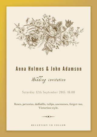 Vertical vector vintage wedding invitation. Floral bouquet with roses, anemones, tulips and daffodils in Victorian style on gold background.