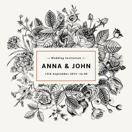 夏の花のヴィンテージ エレガントな結婚式招待状。黒と白のベクトル イラスト。