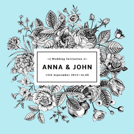 ミントの背景に黒と白の夏の花のヴィンテージ エレガントな結婚式招待状。ベクトル イラスト。