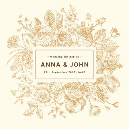 Vintage elegant wedding invitation with gold summer flowers on beige background. Vector illustration.