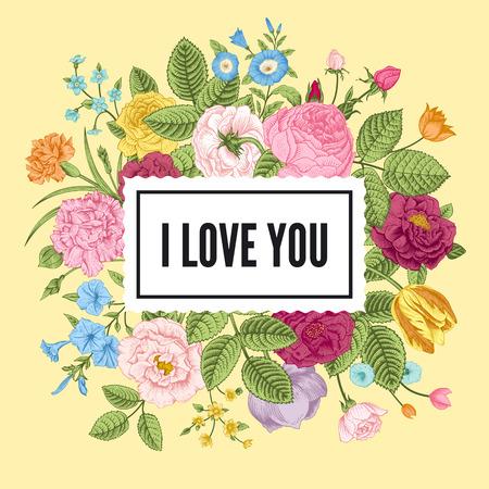 zomertuin: Vintage floral vector kaart met kleurrijke zomertuin bloemen. Ik hou van jou.