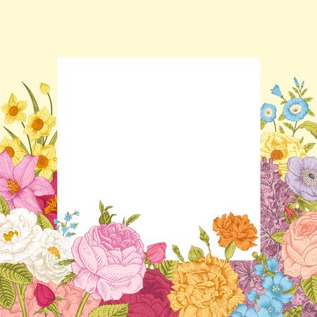 夏の花のビンテージ ベクトルの背景。白枠とベージュ色の背景にカラフルな花が咲いていました。