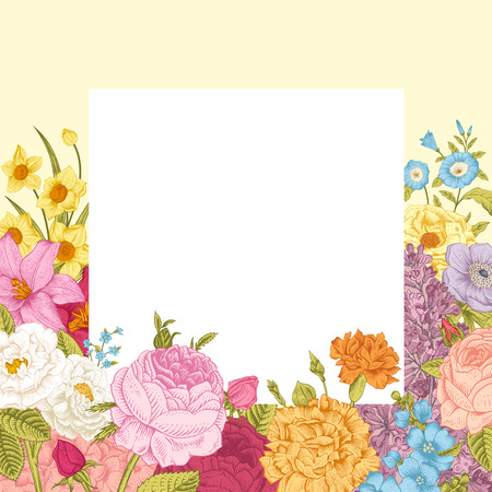 Summer floral vintage vector background. Blossoming garden colorful flowers on a beige background with white frame. Ilustração