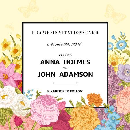 Vintage wedding invitation. Summer card. Blossoming garden colorful bright flowers on a beige background. Vector illustration. Иллюстрация