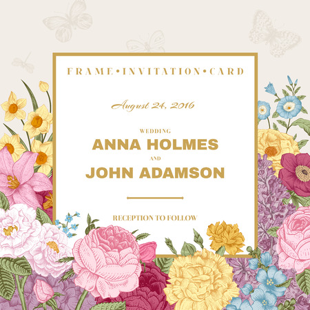 Vintage wedding invitation. Summer card. Blossoming garden colorful bright flowers on a gray background with golden frame. Vector illustration.