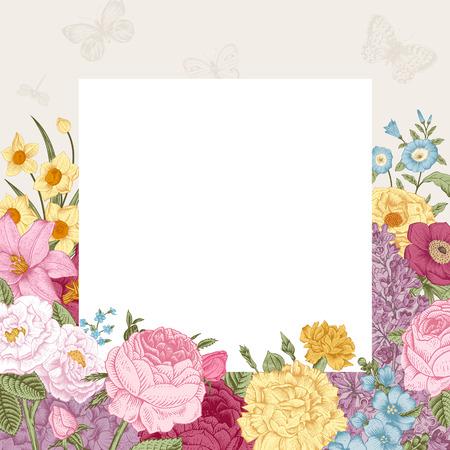 夏の花のビンテージ ベクトルの背景。ホワイト ペーパーと灰色の背景にカラフルな花が咲いていました。  イラスト・ベクター素材