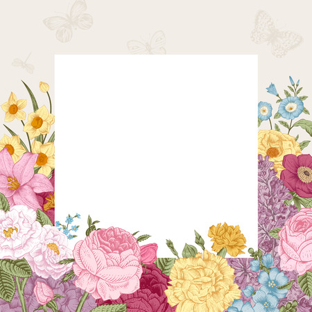Summer floral vintage vector background. Blossoming garden colorful flowers on a gray background with white paper.