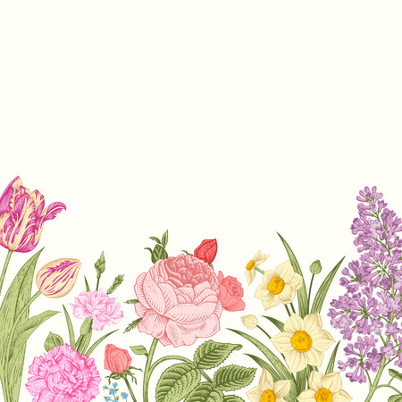 Summer floral vintage vector background. Blossoming garden colorful flowers on a beige background. Rose, lilac, carnation, daffodil, tulip. Vector