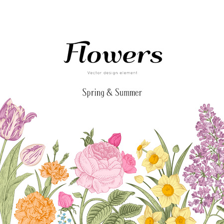 Summer floral vintage vector background. Blossoming garden colorful flowers on a white background. Rose, lilac, carnation, daffodil, tulip.