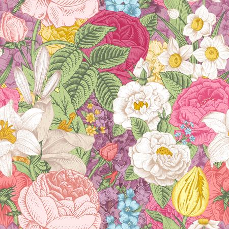 シームレスなベクター庭色とりどりの花でヴィンテージのパターン。バラ、チューリップ、デルフィ ニウム、ライラック、スイセン、ユリ。