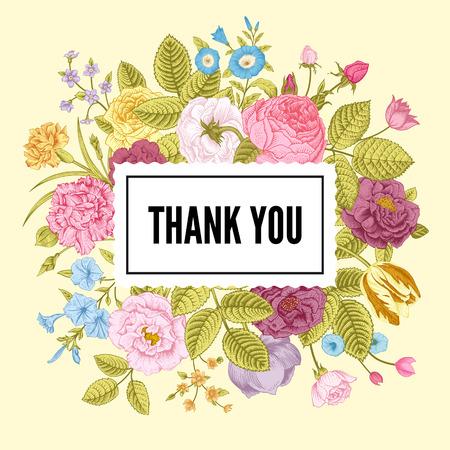 zomertuin: Vintage floral vector kaart met kleurrijke zomer tuin bloemen. Dankjewel. Stock Illustratie