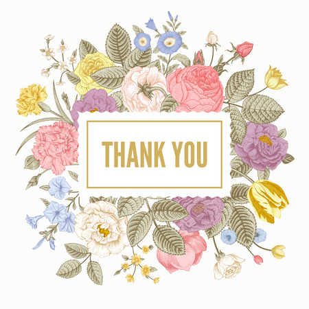 Vintage floral vector card with colorful summer garden flowers. Thank you. Pastel color. Vector