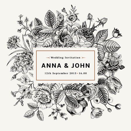 Vintage elegant wedding invitation with summer flowers. Black and white vector illustration. Vector