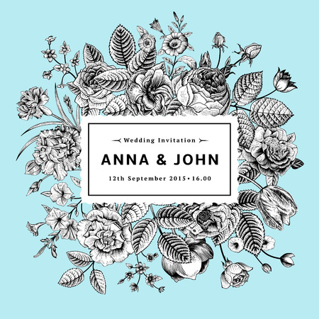 Vintage elegant wedding invitation with Black and white summer flowers on mint background. Vector illustration.