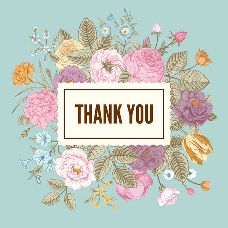 Vintage floral vector elegant card with colorful summer garden flowers on mint background. Thank you. Ilustração