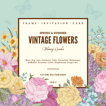 Summer floral vintage vector background. Blossoming garden colorful flowers on a mint background with beige frame.