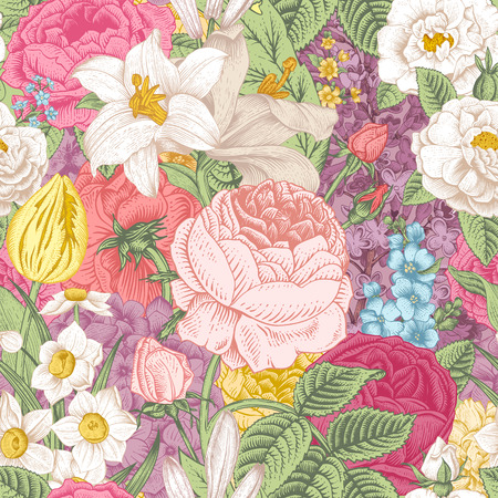 Seamless vector vintage pattern with garden colorful flowers. Roses, tulips, delphinium, lilac, daffodil, lily. Vector