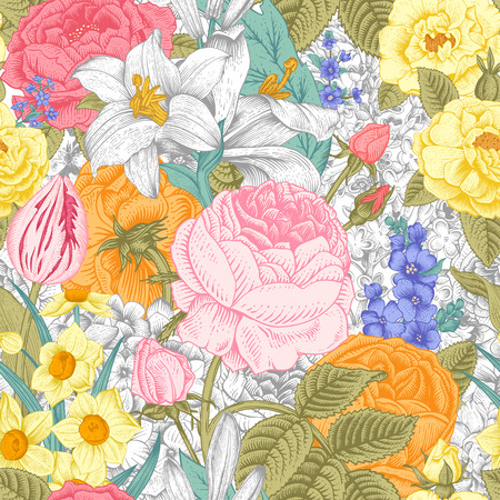 Summer seamless vintage floral pattern. Colorful flowers roses, lilies, daffodils, tulips and white on a gray background. Vector illustration. Иллюстрация