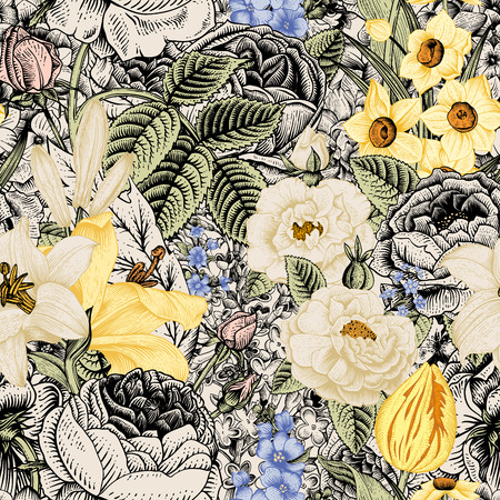 Summer seamless floral pattern. Vintage flowers Art. Flowers roses, white and yellow lilies, daffodils, tulips and blue delphinium and forget-me on a beige and black background. Vector