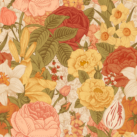 Seamless vector vintage pattern with garden flowers. Red, coral, yellow Roses, tulips, delphinium, lilac, daffodil, lily. Иллюстрация
