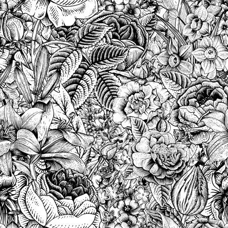 Verano sin fisuras patrón floral. Arte flores de época. Gráficos en blanco y negro. Rosas, lirios, narcisos, tulipanes y espuelas de caballero. Monocromo. Ilustración de vector