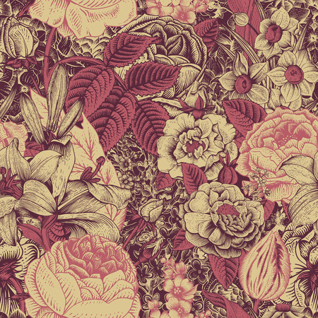 Summer seamless floral pattern. Vintage flowers Art. Claret and dark pink flowers on a gold background. Roses, lilies, daffodils, tulips and delphinium.