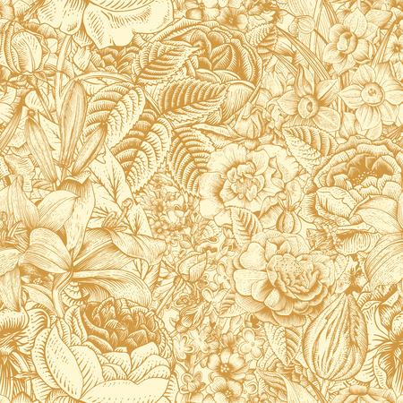 夏のシームレスな花柄。ヴィンテージ花芸術。ベージュ色の背景の金の花。ばら、ユリ、水仙、チューリップ、デルフィ ニウム