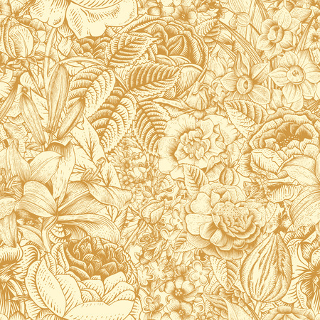 Summer seamless floral pattern. Vintage flowers Art. Gold flowers on a beige background. Roses, lilies, daffodils, tulips and delphinium. Illustration