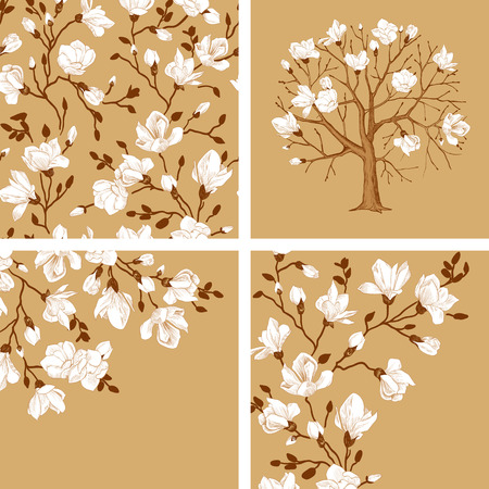 magnolia tree: Set. Blooming magnolia. Vector vintage illustration. Seamless floral pattern, tree, cards. White flowers on a gold background.