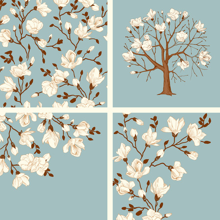 Set. Blooming magnolia. Vector vintage illustration. Seamless floral pattern, tree, cards. White flowers on a blue background. Vector