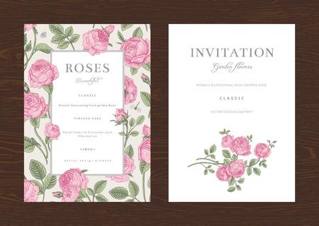 Floral vector verticaal vintage uitnodiging. Set. Pink Garden Roses. Stock Illustratie